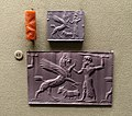 Winged lion griffin attacked by hero over kneeling calf, Mesopotamia, Middle Assyrian period, c. 12th-11th century BC, carnelian cylinder seal - Morgan Library & Museum - New York City - DSC06608.jpg