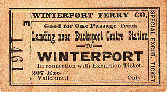 Winterport, Maine - Winterport Ferry Co. ticket for travel between Winterport and Bucksport in the 1920s