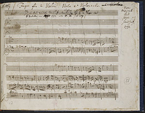 Stefan Zweig Collection - Zweig MS 52, f. 1r; Mozart's  Fuga from Quartet in D minor (K 173)