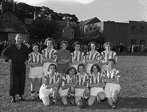 Women's association football - A Welsh women's football team pose for a photograph in 1959