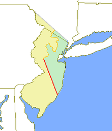 A map of New Jersey, with the left side yellow (West Jersey), the right side green (East Jersey), divided by an orange line and a red line.