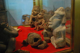 Amuzgo people - Pre Hispanic pieces on display at the Amuzgo Community Museum