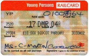 Concessionary fares on the British railway network - Young Persons Railcard issued in 2003.