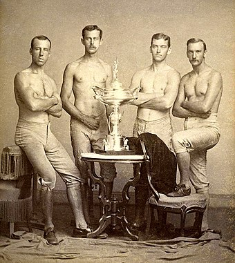 Yale's four-oared crew team, posing with 1876 Centennial Regatta trophy, won at Philadelphia Yale's four-oared crew team with 1876 Centennial Regatta trophy.jpg