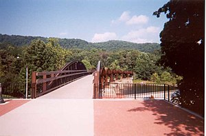 Youghiogheny River Trail - Trail crosses river at Ohiopyle
