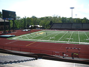 2004 William & Mary Tribe football team - Renovations to Zable Stadium have included replacing natural grass with FieldTurf Pro, installing lights to allow for night games and the addition of a new scoreboard (shown).