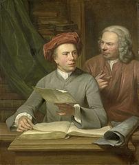 Autoportrait avec son père et professeur Jan Maurits Quinkhard debout à côté de lui