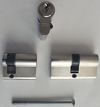 Pin tumbler lock - Euro profile locks, an example of a cylinder lock. These are commonly found on uPVC doors and commercial buildings where re-keying doors is common.