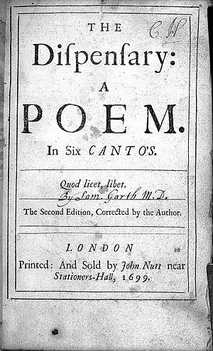 "Samuel Garth - Image: ""The dispensary..."" Sir Samuel Garth, 1699 Wellcome L0001057"