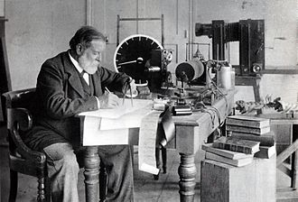 Étienne-Jules Marey - Marey among his inventions (sphygmograph, sound-recording instruments, model of bird-flight, projector, camera)