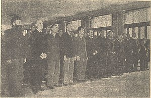 Trial of Mihailović et al. - Reading the verdict on Belgrade process. From left to right standing: Draža Mihailović, Stevan Moljević, Đura Vilović, Rade Radić, Slavoljub Vranješević, Miloš Glišić, Dragomir Jovanović, Velibor Jonić, Đura Dokić, Kosta Mušicki, Boško Pavlović, Lazar Marković and Kosta Kumanudi.