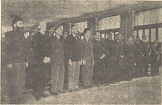 Kosta Kumanudi - Sentencing at the Trial of Mihailović et al.. Kumanudi is the first from the right