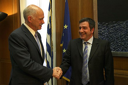 The former mayor of Athens Giorgos Kaminis (right) with the ex-Prime Minister of Greece, George Papandreou Jr. (left). Sunantese me ton Demarkho Athenaion, Giorgo Kamine.jpg