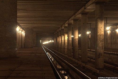 Interior of the ghost station Telychka on the Kiev Metro (Photo by AnkelKoss, via Wikimedia Commons)