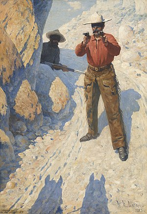 William Robinson Leigh -  The Hold Up (The Ambush), 1903, Oil on canvas, Sid Richardson Museum, Fort Worth, Texas (https://www.sidrichardsonmuseum.org)