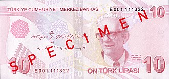 Arf invariant - Arf and a formula for the Arf invariant appear on the reverse side of the 2009 Turkish 10 Lira note