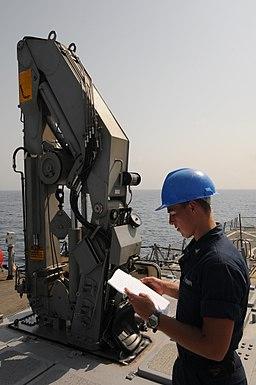 110909-N-XQ375-035 USS Mitscher VLS Strikedown Crane folded