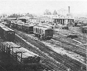 Memphis and Charleston Railroad - Memphis Yard in 1885