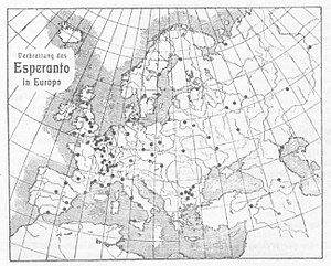 Esperanto - Map of Esperanto groups in Europe in 1905.