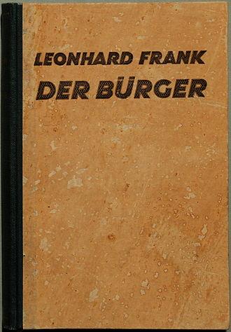 Leonhard Frank - Cover of Leonhard Frank's 1924 novel A Middle-Class Man.