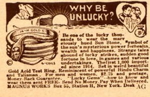 "Luck - 1927 advertisement for lucky jewellery. ""Why Be Unlucky?""."