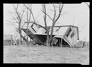 Ohio River flood of 1937 - An upturned farmhouse in Posey County, Indiana.