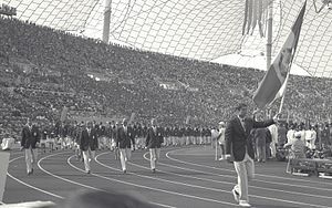 Romania at the 1972 Summer Olympics - Romanian delegation at the Opening Ceremony, led by Aurel Vernescu