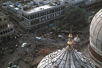 Old Delhi - View of Old Delhi from Jama Masjid in June 1973.