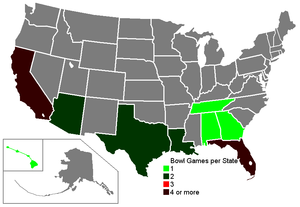 1990–91 NCAA football bowl games - Number of bowl games per state.