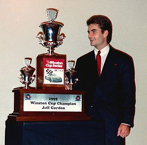 Jeff Gordon - Gordon with his 1995 trophy