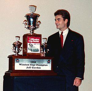 Jeff Gordon - Gordon with his 1995 trophy
