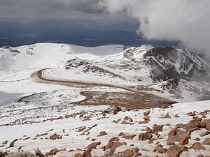 Pikes Peak Highway - A view of the highway as it nears the summit