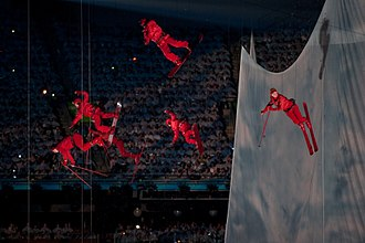 Aerialists mimicking skiing and snowboarding down a mountain 2010 Opening Ceremonies - Peaks of Endeavour.jpg