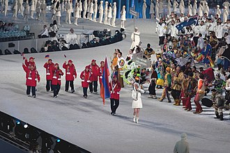 Armenia at the 2010 Winter Olympics - The athletes entering the stadium during the opening ceremonies.