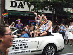 Dan Savage and Terry Miller, Grand Marshals of the 2011 New York City Pride Parade