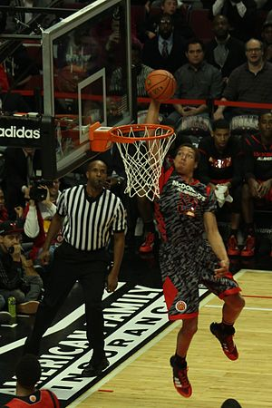 Aaron Gordon - Gordon completing an Alley oop from Aaron Harrison at the 2013 McDonald's All-American Boys Game