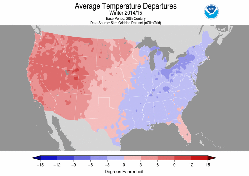 2014–15 United States winter average temperature anomaly