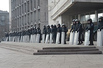 Donetsk People's Republic - Ukrainian Riot Police guarding the entrance to the RSA building on 7 March 2014