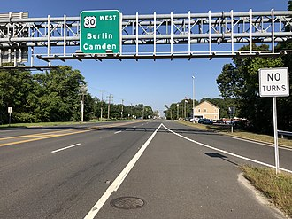Berlin, New Jersey - U.S. Route 30 westbound entering Berlin