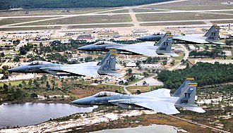 2d Fighter Training Squadron - Four-ship formation of 2d Fighter Squadron F-15 Eagles over Tyndall Air Force Base