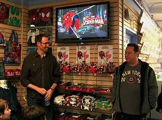 Joe Quesada - Quesada with writer/producer Joe Kelly prepare a March 31, 2012 sneak preview of Ultimate Spider-Man for fans at Midtown Comics in Manhattan, the day before the series' broadcast TV debut.