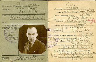 Emil-Edwin Reinert - Certificate of Registration at time of Treachery on the High Seas, London, 1936