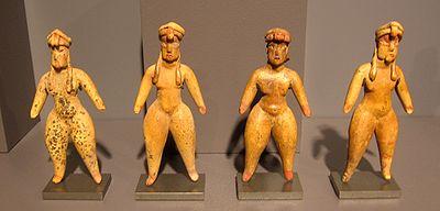 Quatro figuras de terracota de Tlapacoya, 1500-1300 AEC.