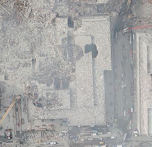 5 World Trade Center - 5 World Trade Center in a NOAA aerial image following September 11, 2001.