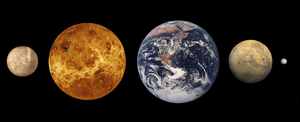 Geology of solar terrestrial planets - The inner planets. From left to right: Mercury, Venus, Earth, Mars and terrestrial dwarf planet, Ceres (sizes to scale)