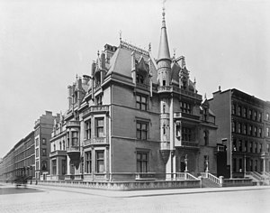 "52nd Street (Manhattan) - The William Kissam Vanderbilt mansion ""Petit Chateau"", designed by Richard Morris Hunt, stood on the corner of Fifth Avenue and 52nd Street until 1926"