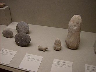 7th millennium BC - 7th millennium BC clay and stone artefacts from the Middle East, on display in the Metropolitan Museum of Art, in New York