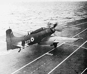 HMS Albion (R07) - A Douglas Skyraider AEW.1 of the Royal Navy's No. 849 Squadron taking off from HMS Albion