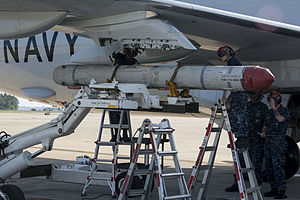 AGM-84K is attached to VP-30 P-8A at NAS Jacksonville in 2014.JPG