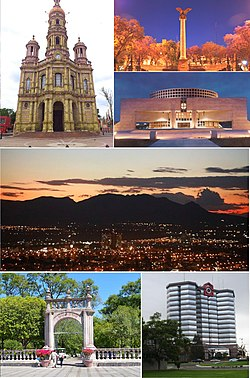 Clockwise from top: San Antonio de Padua Church, La Exedra, Aguascalientes Theatre, Cerro del Muerto, Plaza Bosques Tower, and the San Marcos Park.